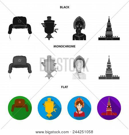 Clothes, Woman, Kremlin, Building .russia Country Set Collection Icons In Black, Flat, Monochrome St