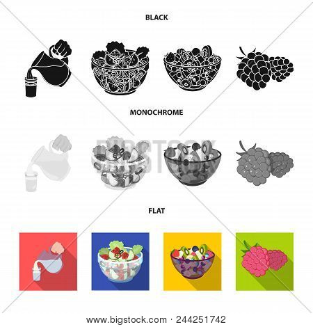 Fruit, Vegetable Salad And Other Types Of Food. Food Set Collection Icons In Black, Flat, Monochrome