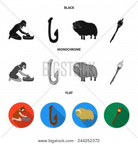 Cattle, Catch, Hook, Fishing .stone Age Set Collection Icons In Black, Flat, Monochrome Style Vector