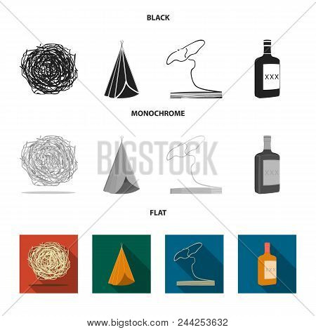 Roll-field, Indian Wigwam, Lasso, Whiskey Bottle. Wild West Set Collection Icons In Black, Flat, Mon
