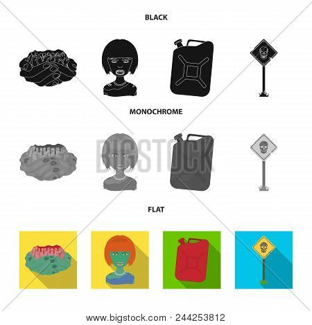 Zombies And Attributes Black, Flat, Monochrome Icons In Set Collection For Design. Dead Man Vector S