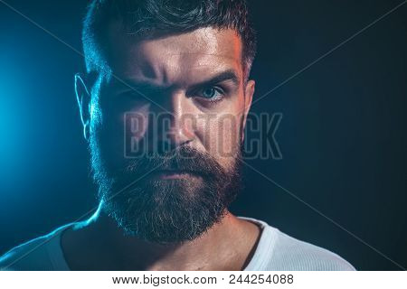 Serious Bearded Man. Portrait Closeup Of Handsome Guy. Cool Bearded Man In White T-shirt. Fashionabl