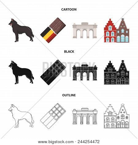 Chocolate, Cathedral And Other Symbols Of The Country.belgium Set Collection Icons In Cartoon, Black
