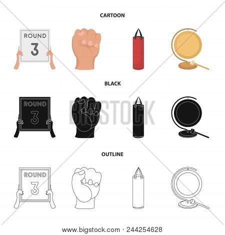 Boxing, Sport, Round, Hand .boxing Set Collection Icons In Cartoon, Black, Outline Style Vector Symb