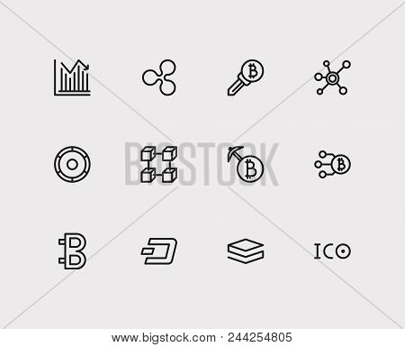 Crypto Currency Icons Set. Stock Price And Crypto Currency Icons With Bitcoin, Stratis And Ripple. S