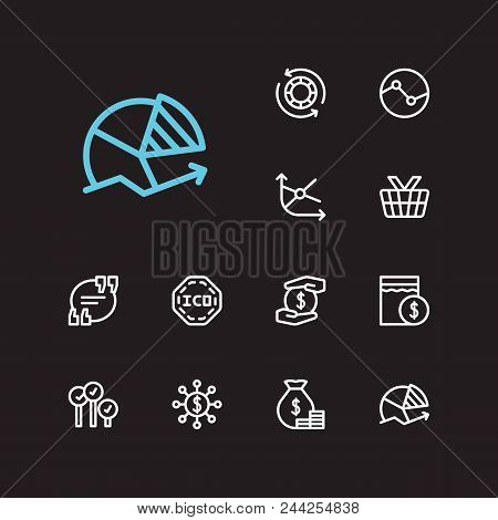 Financial Icons Set. Yield And Financial Icons With Market Order, Quote And Mutual Funds. Set Of Sal