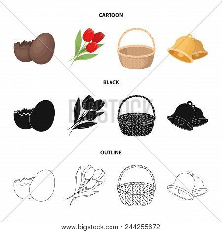 Chocolate Egg, Bells, Basket And Flowers.easter Set Collection Icons In Cartoon, Black, Outline Styl