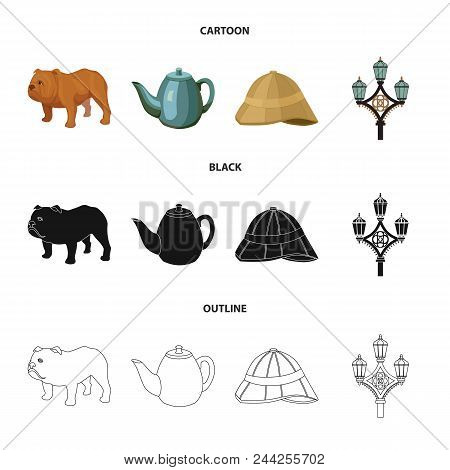 Breed Dog, Teapot, Brewer .england Country Set Collection Icons In Cartoon, Black, Outline Style Vec