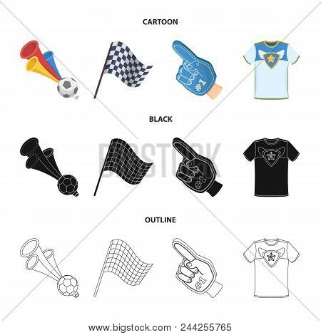 Pipe, Uniform And Other Attributes Of The Fans.fans Set Collection Icons In Cartoon, Black, Outline
