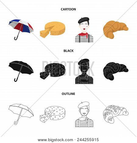 Umbrella, Traditional, Cheese, Mime .france Country Set Collection Icons In Cartoon, Black, Outline