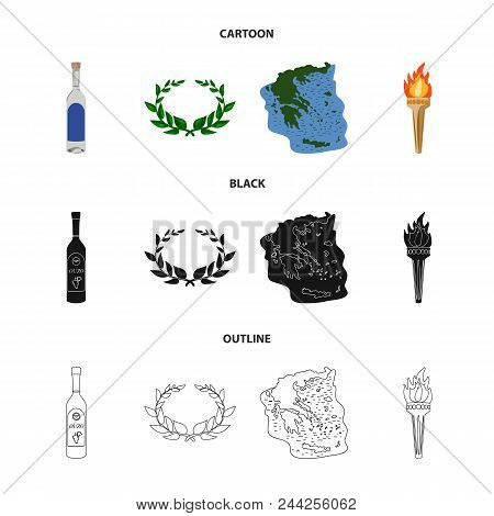 Greece, Country, Tradition, Landmark .greece Set Collection Icons In Cartoon, Black, Outline Style V