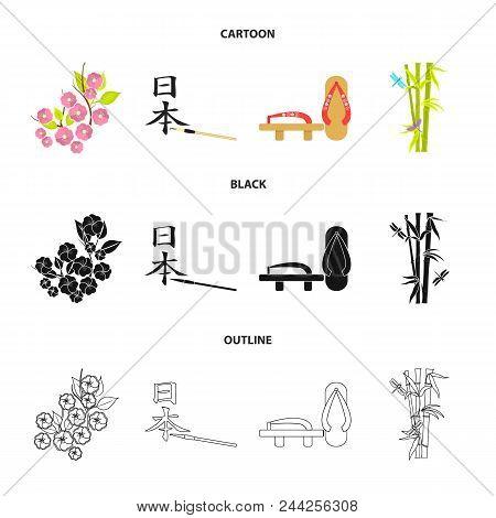 Geta, Sakura Flowers, Bamboo, Hieroglyph.japan Set Collection Icons In Cartoon, Black, Outline Style