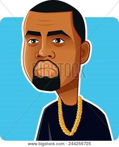 N.y.,u.s. June 6, 2018, Kanye West Vector Caricature