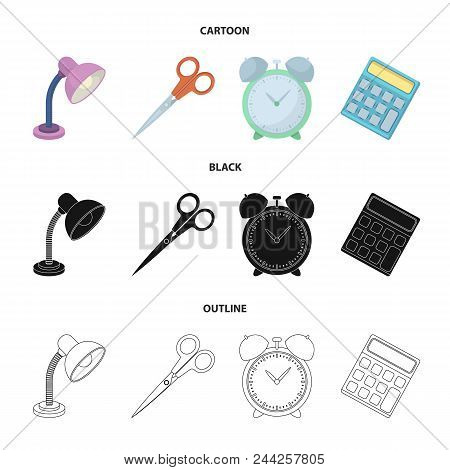 Table Lamp, Scissors, Alarm Clock, Calculator. School And Education Set Collection Icons In Cartoon,