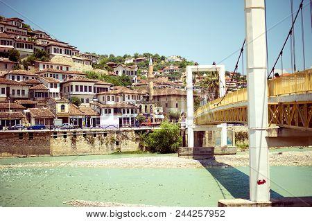 Berat, Albania - June 2018: Historical Town Berat, Ottoman Architecture In Albania, Unesco World Her