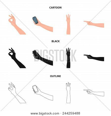 Sign Language Cartoon, Black, Outline Icons In Set Collection For Design.emotional Part Of Communica