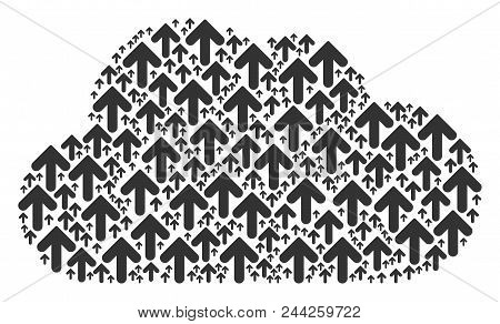 Cloud Mosaic Made With Arrow Direction Objects In Variable Sizes. Abstract Vector Web Representaion.
