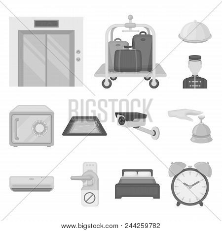 Hotel And Equipment Monochrome Icons In Set Collection For Design. Hotel And Comfort Vector Symbol S
