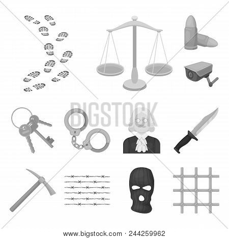 Prison And The Criminal Monochrome Icons In Set Collection For Design.prison And Attributes Vector S