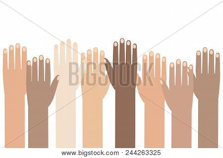 Multiracial Colorful Peoples' Hands Raised. Illustration Of Human Rights Day Background.