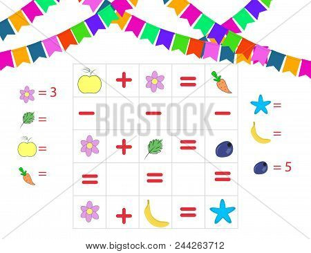 Counting Game For Preschool Children. Mathematics Task. How Many Objects. Learning Mathematics, Numb