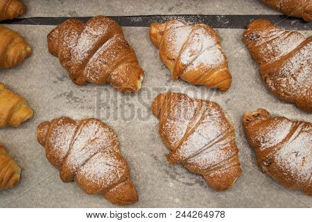 Puff Pastry Rolls. Fresh Sweet Baking On Papyrine. Crispy Pies Lie In Rows On A Baking Sheet On The