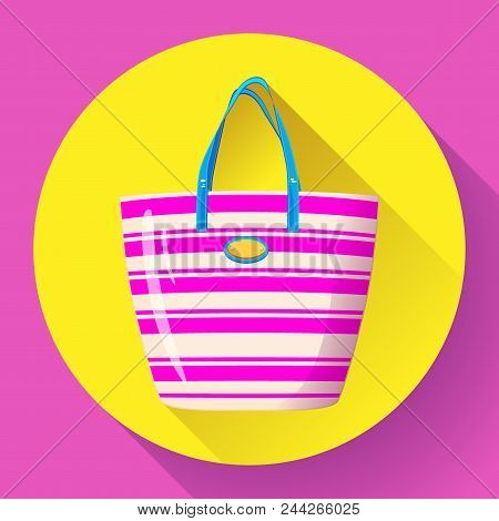 Beach Bag Icon Flat Isolated On White Background. Flat Beach Bag Icon For Infographic, Mobile App Or