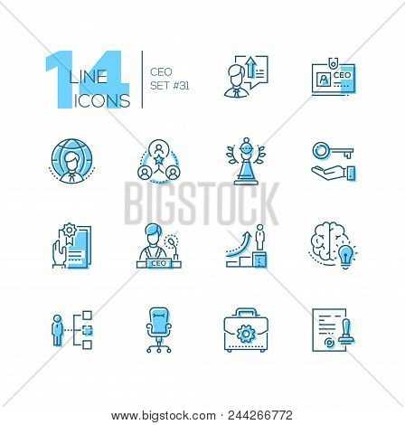 Ceo - Set Of Line Design Style Icons Isolated On White Background. High Quality Minimalistic Black A