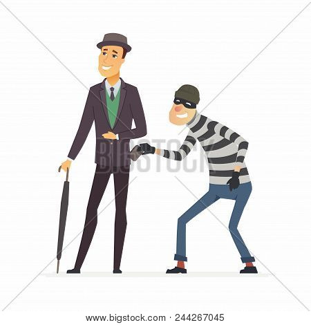 Pickpocket Stealing Wallet - Cartoon People Characters Illustration Isolated On White Background. A