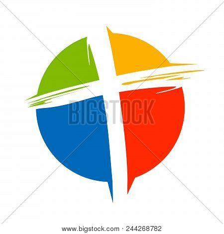 Crucifix Cross Brush Circle Colors Vector Symbol Graphic Logo Design