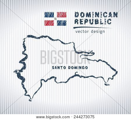 Dominican Republic Vector Chalk Drawing Map Isolated On A White Background
