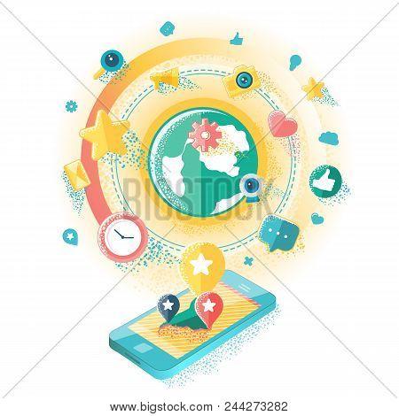 Flat Illustration Of Social Media, Social Networking, Mobile App, Sharing, Communication, And Social