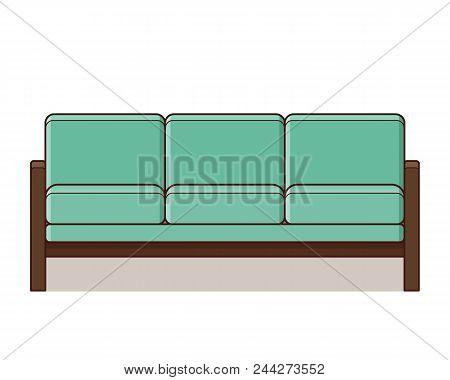 Sofa Icon In Flat Design. Vector Illustration. Retro Style.
