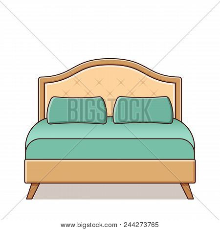 Bed Icon In Flat Design. Vector Illustration. Retro Style.