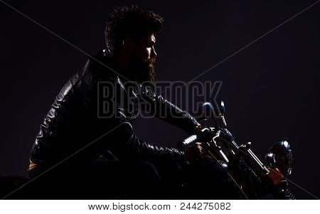 Macho, Brutal Biker In Leather Jacket Riding Motorcycle At Night Time, Copy Space. Man With Beard, B