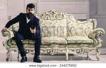Rich Man. Fashion And Style Concept. Man With Beard And Mustache Wearing Fashionable Classic Suit, S