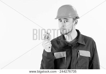 Builder Earn Money, Repairman Holds Cash, Banknotes In Hand. Man In Helmet Got Bribe, Money For Ille