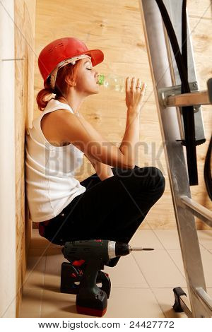 Female Carpenter On Duty