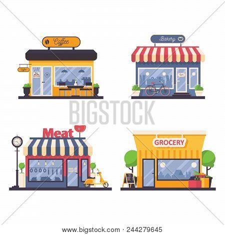 Detailed Storefront For Grocery And Meat Shop, Bakery, Coffee Cafe. Vector Facade Illustration For L