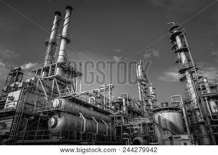 Industrial Furnace And Heat Exchanger Is Cracking Hydrocarbons In Factory With Monotone, Close Up Of
