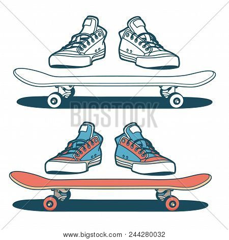 Sneakers And Skateboard Isolated - Color And Outline Options