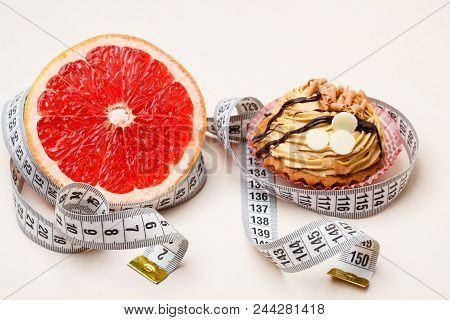 Concept Of Making Choice: Healthy Low-calorie Or Unhealthy High-calorie Food, Slimming Or Fattening.