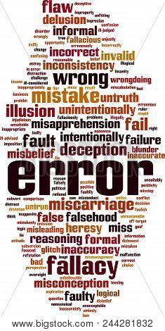 Error Word Cloud Concept. Vector Illustration On White