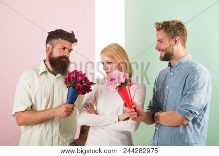 Girl Popular Receive Lot Men Attention. Men Competitors With Bouquets Flowers Try Conquer Girl. Girl