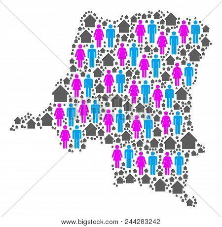 Population Democratic Republic Of The Congo Map. Household Vector Collage Of Democratic Republic Of