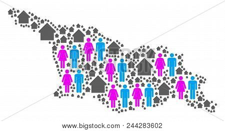 Population Georgia Map. Household Vector Collage Of Georgia Map Constructed Of Randomized Male And F