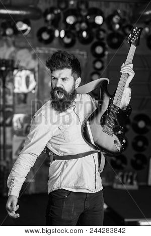 Play Guitar. Musician With Beard Play Electric Guitar. Rock Music Concept. Talented Musician, Solois