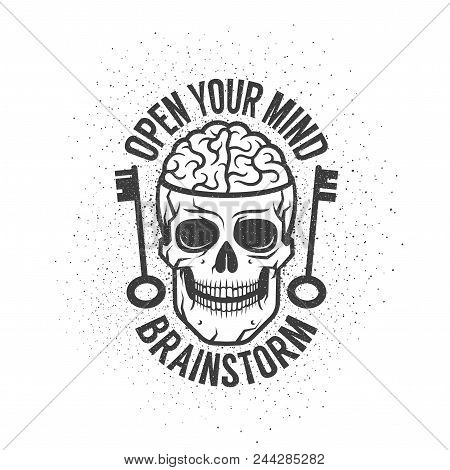 Retro Emblem With A Human Brain In The Skull And Old Keys. With The Inscription - Open Your Mind. Wo