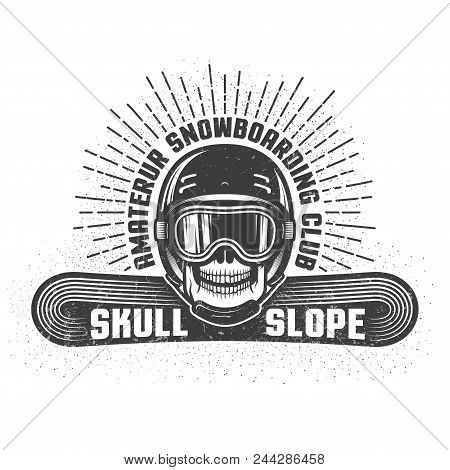 Snowboarding Retro Logo With Skull In Helmet And Sports Goggles. Worn Textures And Dots On Separate