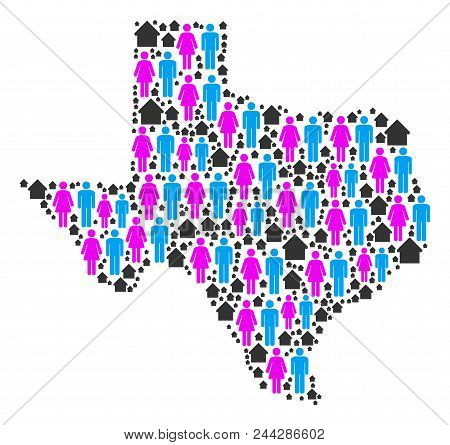 Population Texas Map. Household Vector Concept Of Texas Map Formed Of Randomized Person And House It